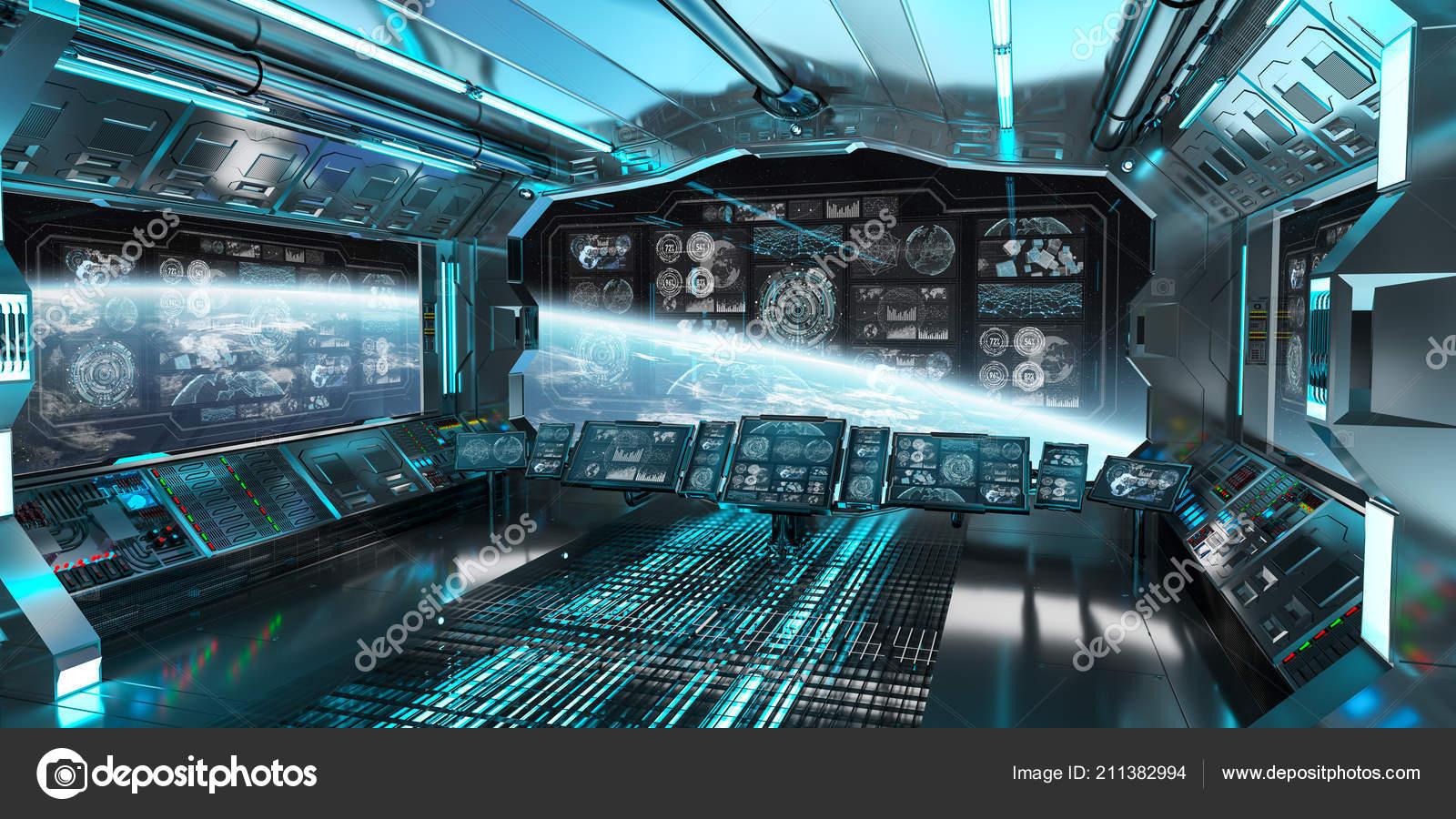 Blue Spaceship Interior Space Control Panel Screens