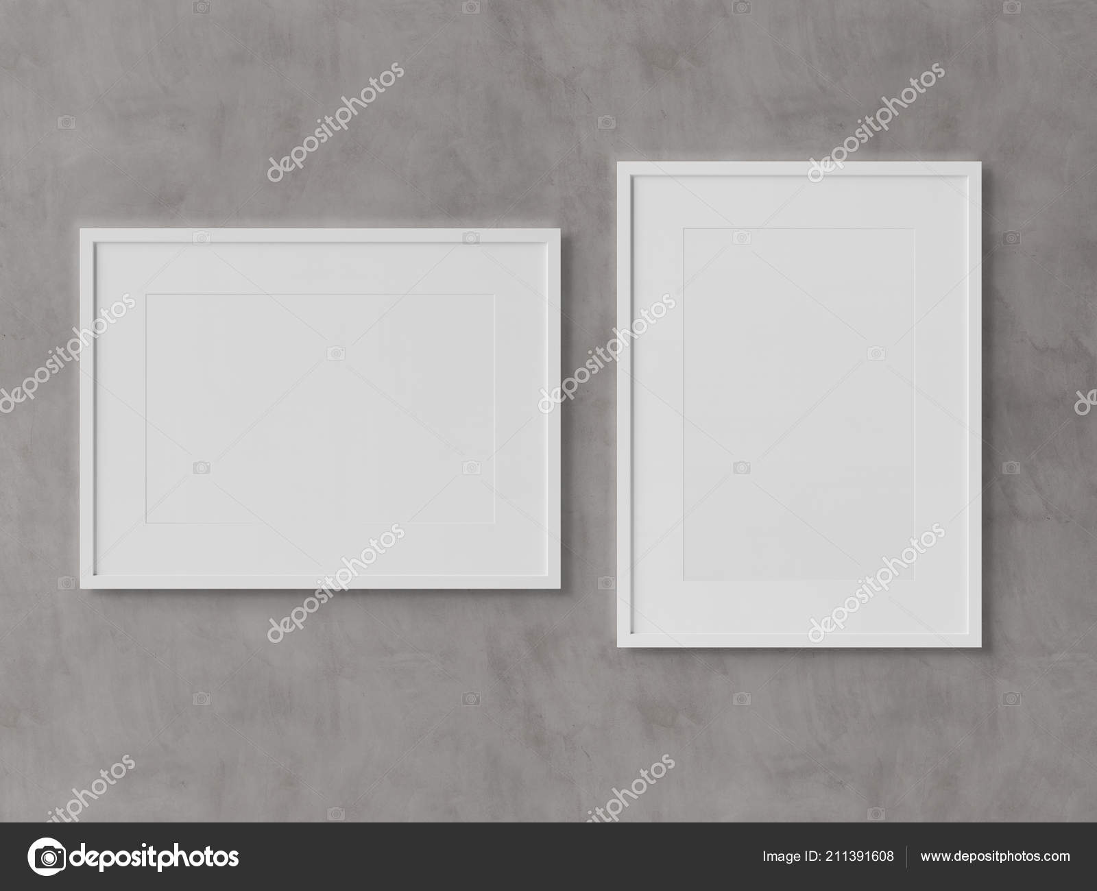White Rectangular Frames Hanging On A White Textured Wall Mockup