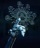 Fotografie Weiße Roboter auf unscharfen Hintergrund Kontrolle der sozialen Netzwerk-Symbole-Schnittstelle