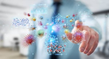 Businessman on blurred background analyzing bacteria microscopic close-up 3D rendering