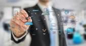 Geschäftsmann auf verschwommenem Hintergrund Zeichnung dünne Linie Social Network Icons Schnittstelle