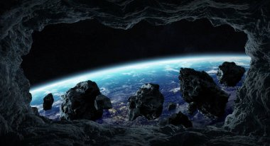 Dark asteroids flying close to planet Earth view from a cave 3D rendering elements of this image furnished by NASA