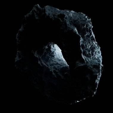 Dark rock asteroid isolated on black background 3D rendering