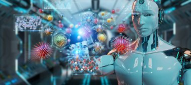 Cyborg on blurred background creating and analyzing nanovirus 3D rendering