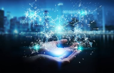 Businesswoman on blurred background using digital binary code connection network 3D rendering