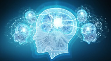Artificial intelligence digital brain on blue background 3D rendering
