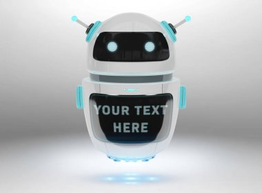 Futuristic digital chatbot on grey background 3D rendering