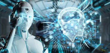 White humanoid woman on blurred background using digital artificial intelligence icon hologram 3D rendering