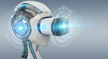 Virtual reality and artificial intelligence illustration on grey background 3D rendering