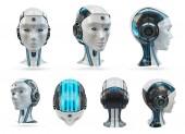Cyborg hlavy umělé inteligence kolekce izolovaných na bílém pozadí 3d vykreslování