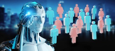 White cyborg on blurred background controlling group of people 3D rendering