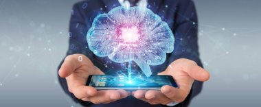Businessman creating artificial intelligence in a digital brain with mobile phone 3D rendering