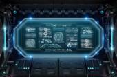 dunkles Raumschiff-Interieur im Weltraum mit Bedienfeld digitale Bildschirme 3D-Rendering