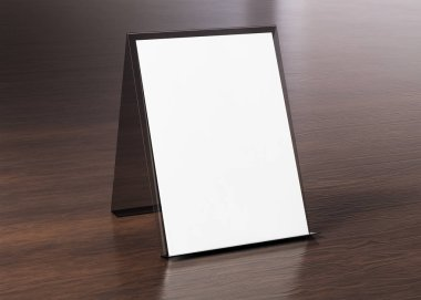 Brochure display stand mockup on wooden texture 3d rendering