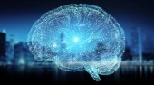 Fotografie Digital 3D projection of a human brain on blue city background 3D rendering