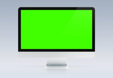 Modern computer monitor mockup isolated on grey background 3d rendering stock vector