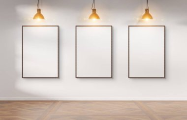 Three wooden frames hanging on a white wall mockup 3d rendering