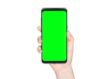 Woman hand holding modern smatphone mockup on white background stock vector