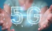 Businesswoman on blurred background using 5G network digital hologram 3D rendering