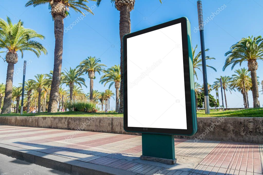 Outdoor billboard advertisement in seaside resort city with palms mockup stock vector