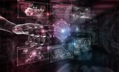 Červený robot hacking systém s digitálním obrazovek na tmavém pozadí 3d vykreslování