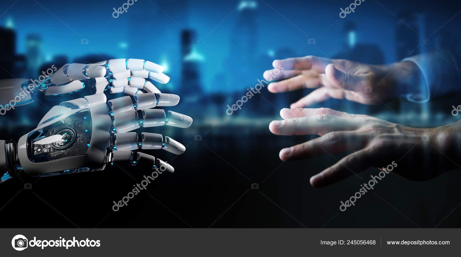 Robot Hand Making Contact Human Hand Dark Background