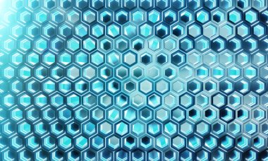 Glowing black and blue hexagons background pattern on silver met