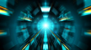 Abstract zoom effect in a blue dark tunnel background with traff