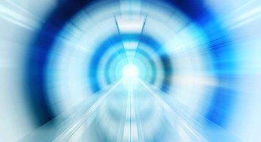 Abstract zoom effectin a bright tunnel background with traffic l