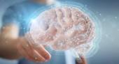Businessman using digital 3D projection of a human brain 3D rend