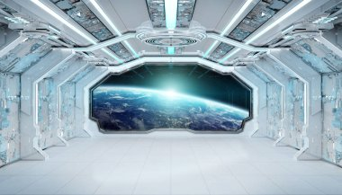 White blue spaceship futuristic interior with window view on pla