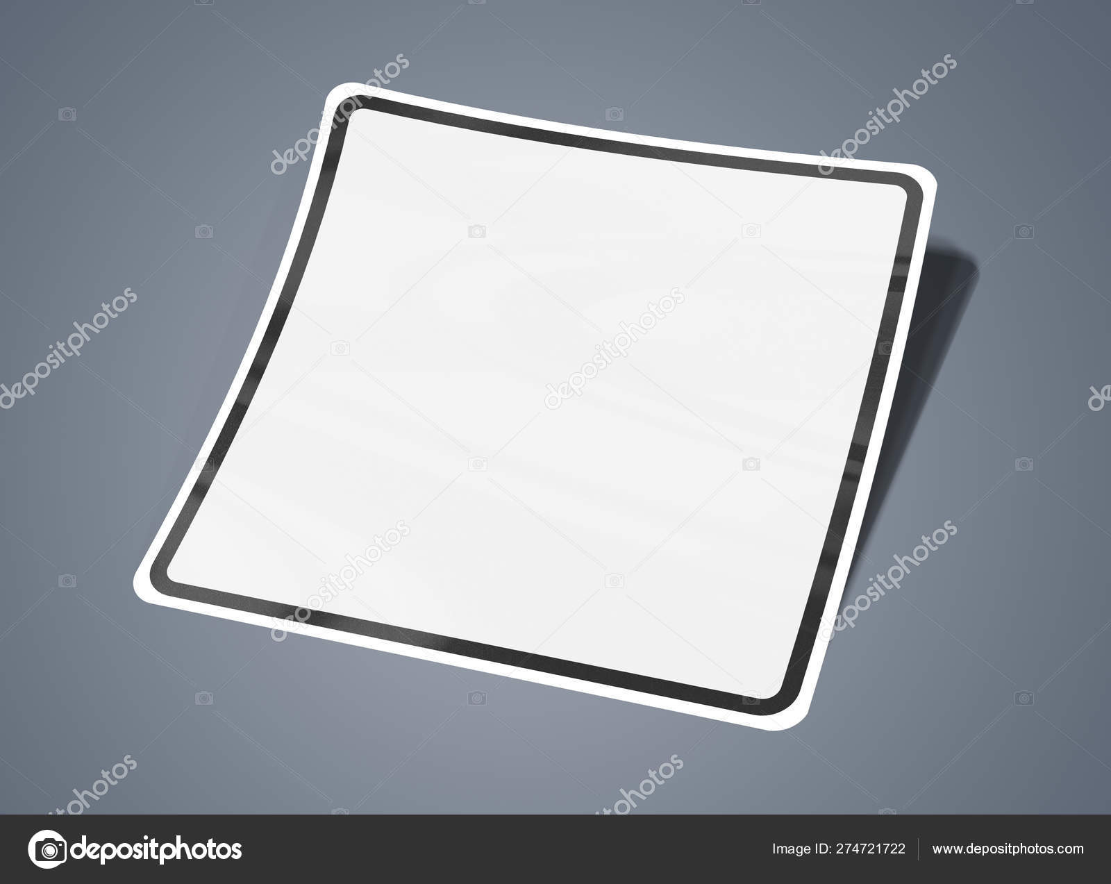 Squared shaped sticker mockup isolated on grey 3D rendering