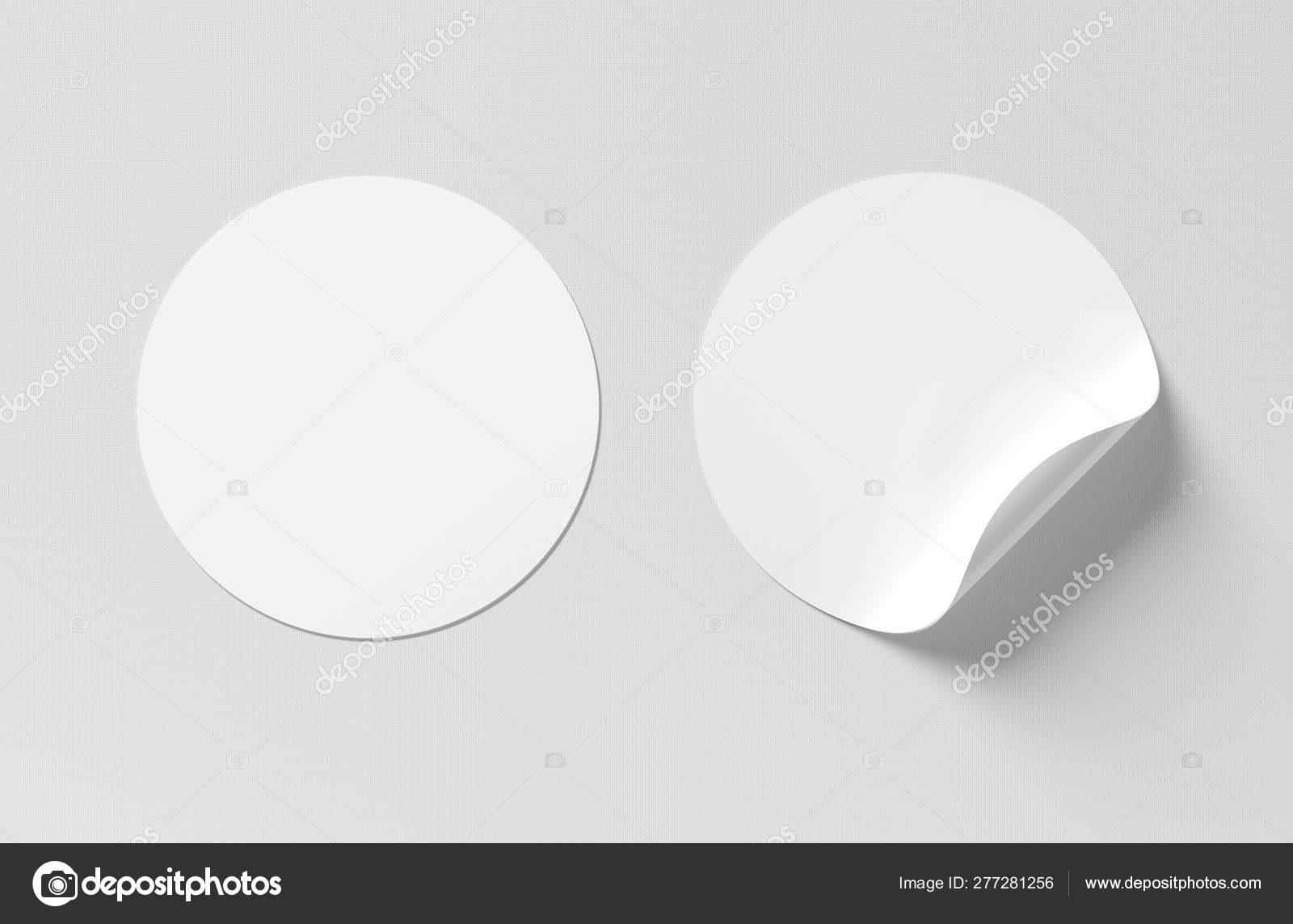 Blank curled sticker mockup isolated on white 3D rendering