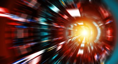 Abstract zoom effect in a red blue dark tunnel background with t