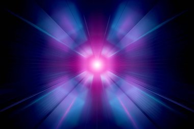 Abstract zoom effect in blue and pink neon tunnel background 3D rendering
