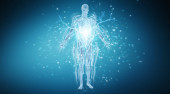 Digital x-ray human body holographic scan projection on dark blue background 3D rendering