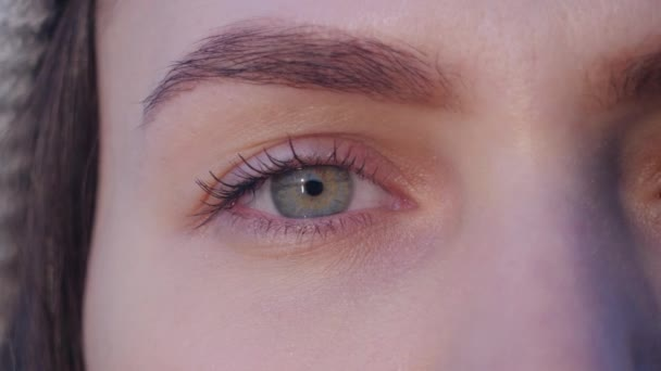 super close up of a right green eye of young attractive woman which opens, looks at the camera and blinks in sunset light in slow motion background 4K video.