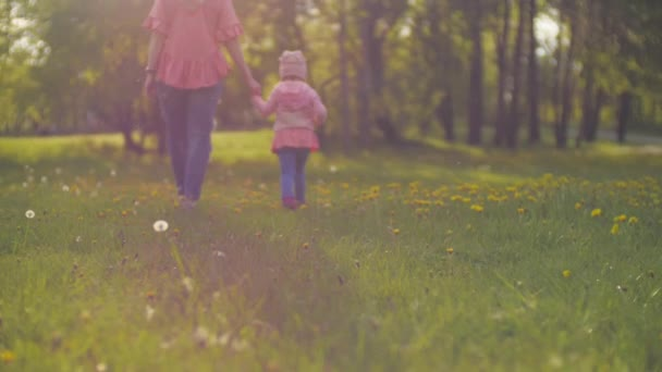 Máma a malá dcerka chodí do parku při západu slunce. Maminka držela dcery ruku na trávě podsvícení jasně svítí na rodinu na hřišti. Šťastný koncept rodinného života. Pomalé