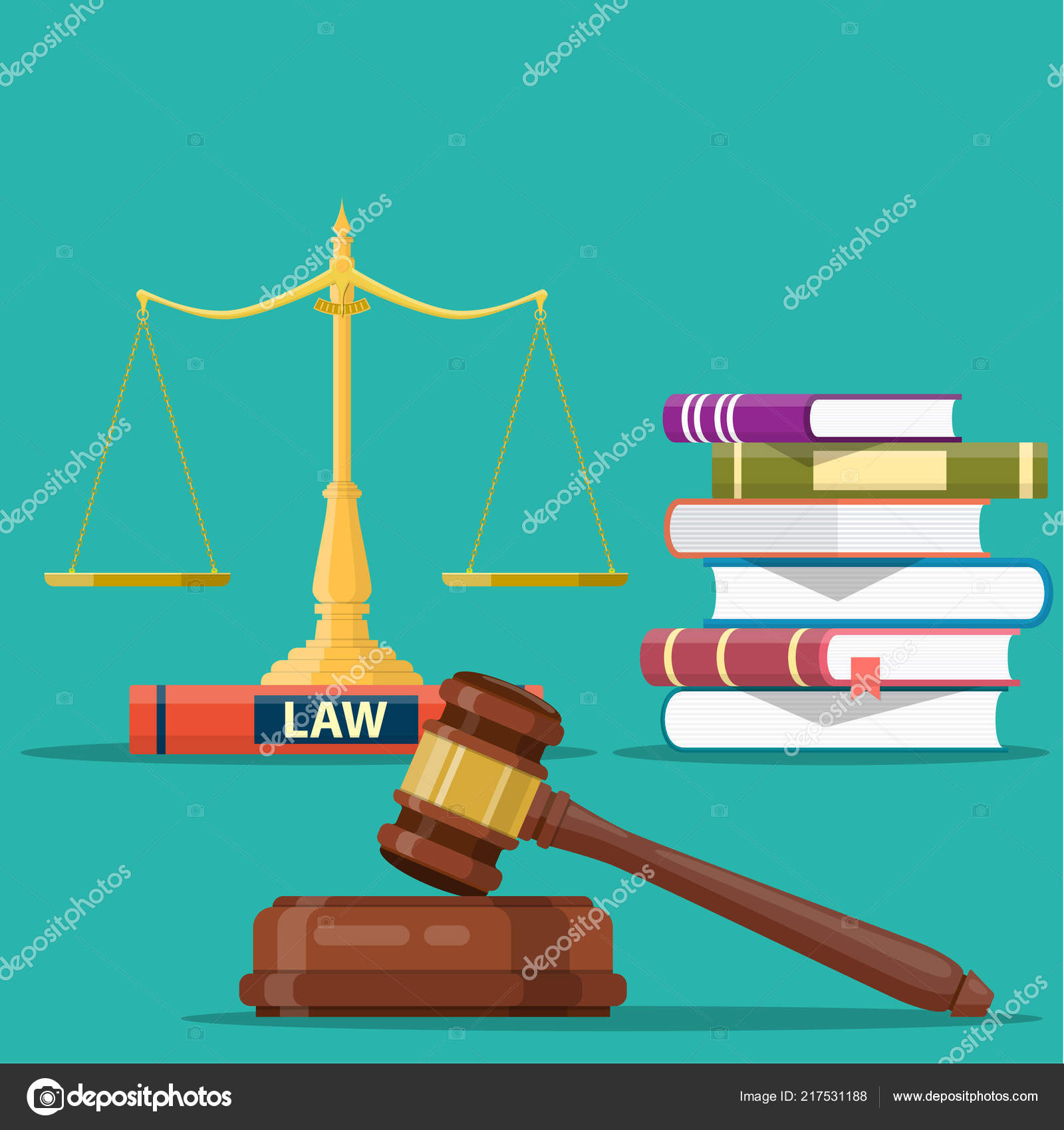 Justice Scales And Wooden Judge Gavel Stock Vector Drogatnev