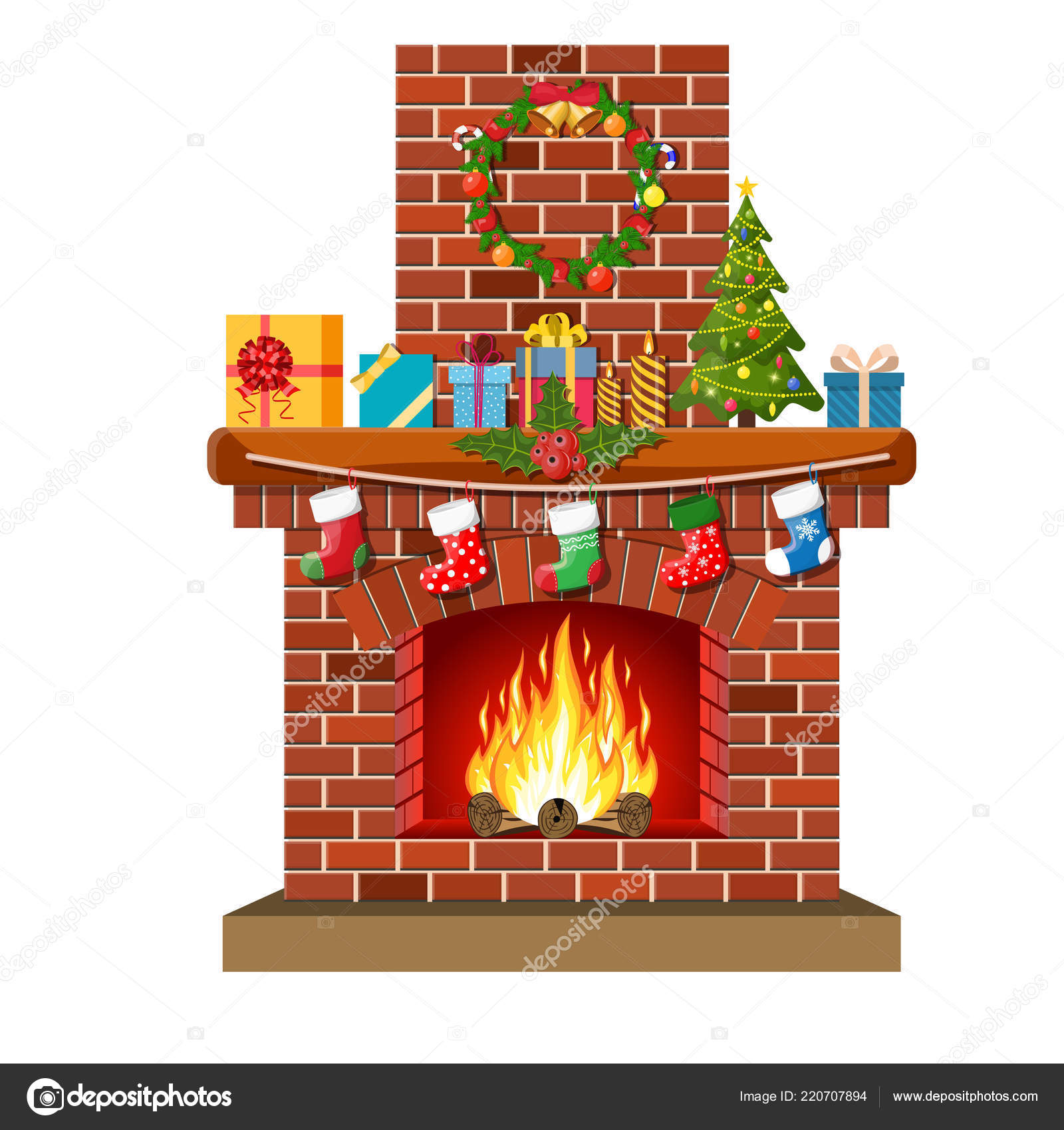 Christmas Red Brick Classic Fireplace Stock Vector C Drogatnev