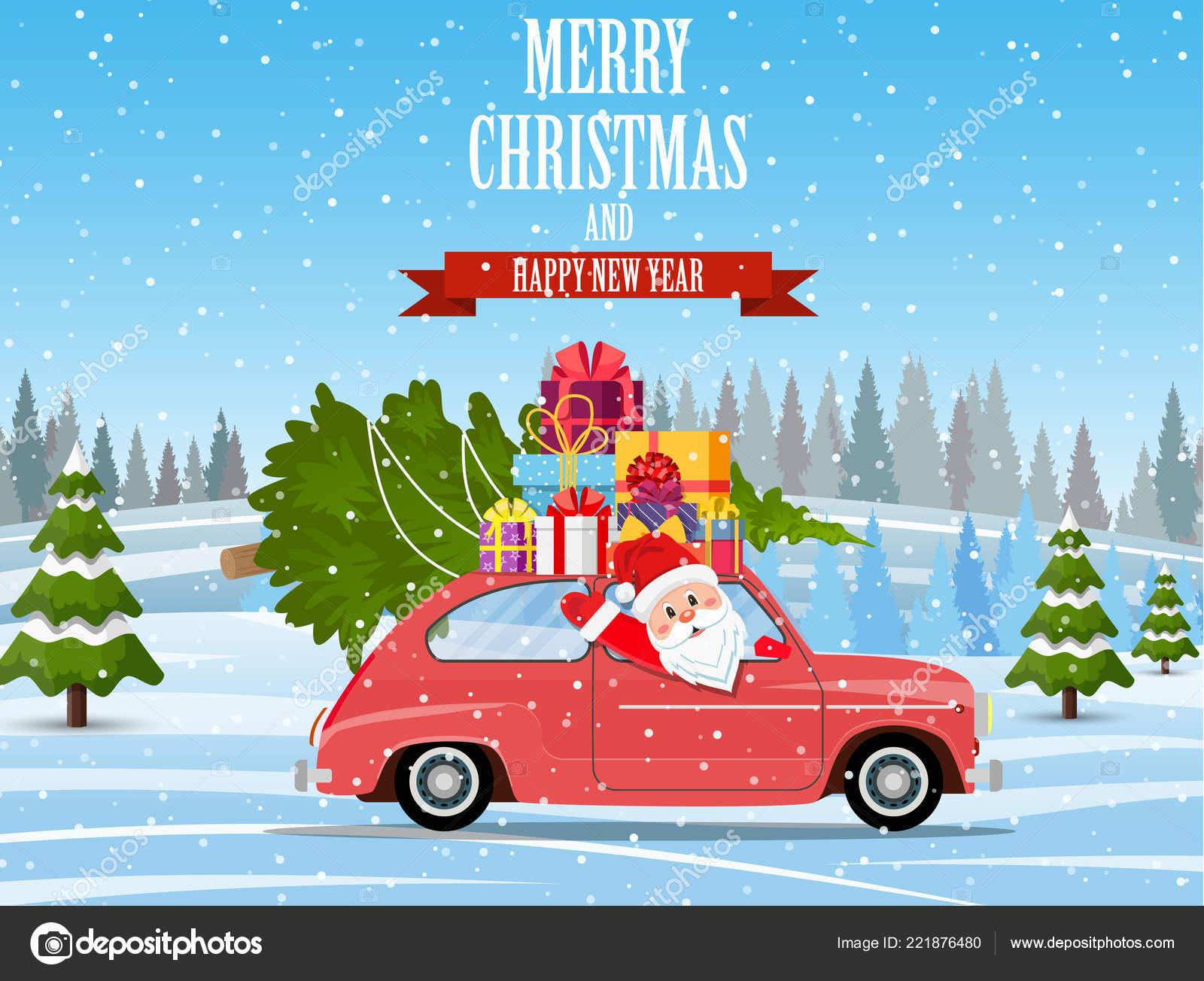 Auto Weihnachtsbaum.Retro Auto Mit Weihnachtsbaum Stockvektor Drogatnev 221876480
