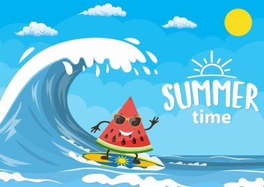 watermelon characters surfing on wave.