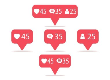 Symbols for social network. Notification icons social media Template heart, comment, request in friend. Vector illustration in flat style icon