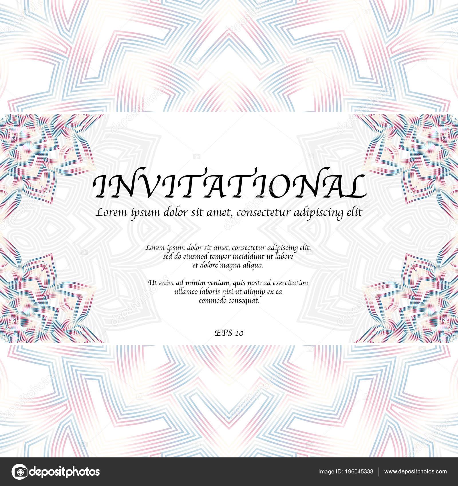 Mandala Abstracto Fondo Con Tarjeta Por Invitación Texto