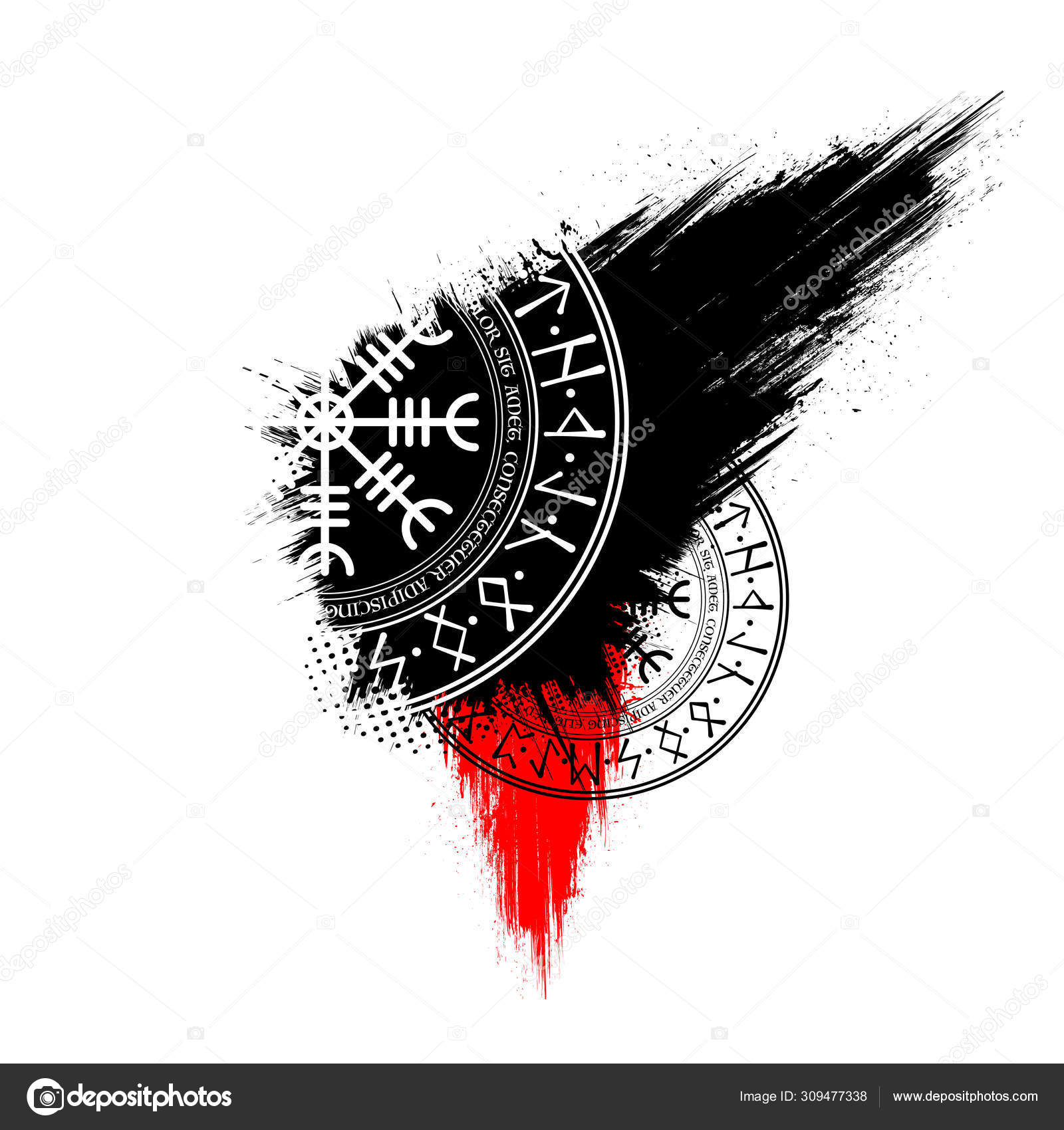 Scandinavian Grunge Symbols Wallpaper Stock Vector