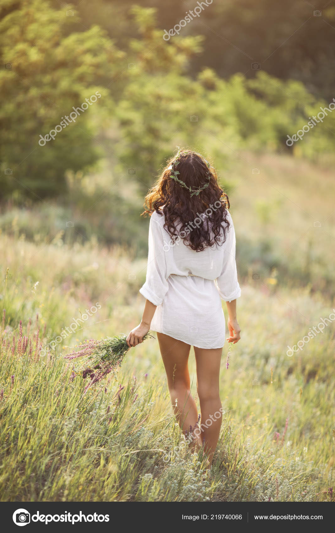 Natural Beauty Girl With Bouquet Of Flowers Outdoor In Freedom Enjoyment Concept Stock Photo C Dimabl 219740066