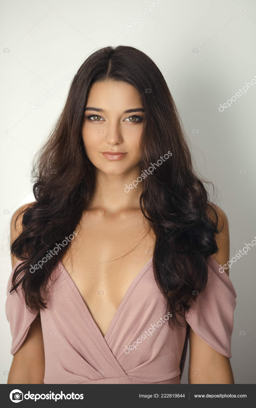 a06275aa5d0 Bridesmaid portrait in studio. Attractive young woman with perfect make-up  and hair style– stock image