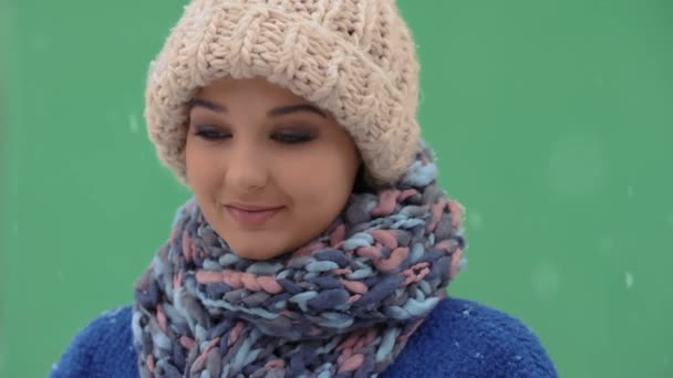 Winter young woman portrait.