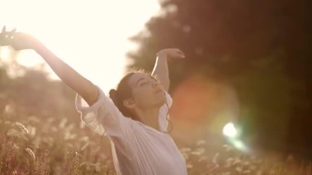 Krásná bezstarostná žena v polích být šťastný venku