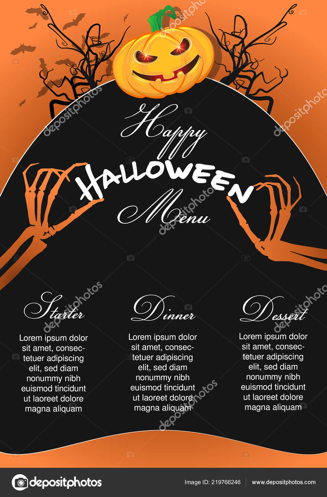 halloween menu template pumpkin chef skeleton hands stock vector